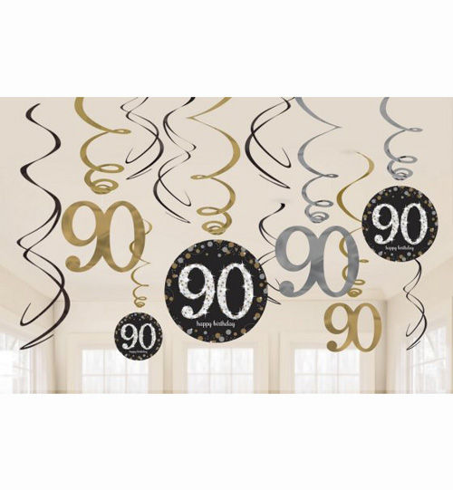 90TH BIRTHDAY HANGING SWIRLS - SPARKLING BLACK PACK 12