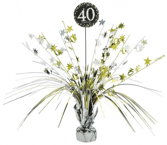 40TH BIRTHDAY WEIGHTED CENTREPIECE - GOLD