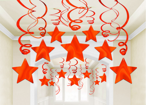 STAR HANGING SWIRL DECORATION ORANGE PEEL PACK OF 30