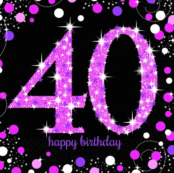 40TH BIRTHDAY NAPKINS - SPARKLING PINK PACK OF 16
