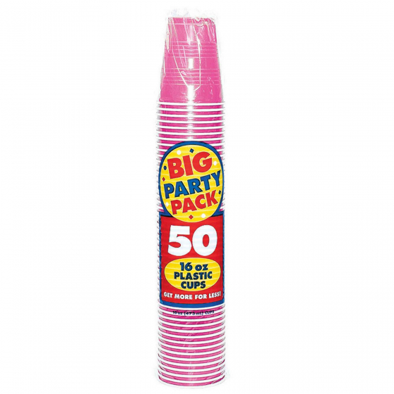 DISPOSABLE CUPS BULK - BRIGHT PINK - PACK OF 50