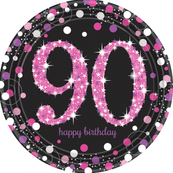 90TH BIRTHDAY DINNER PLATES SPARKLING PINK - PACK 8
