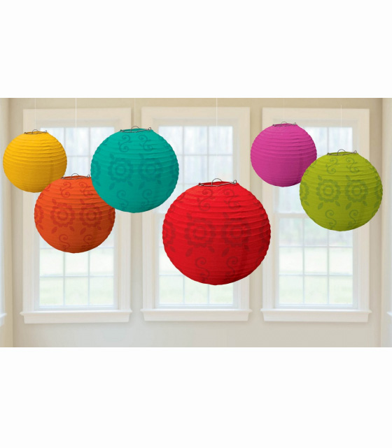 CHINESE PAPER LANTERNS - FIESTA - SET OF 6