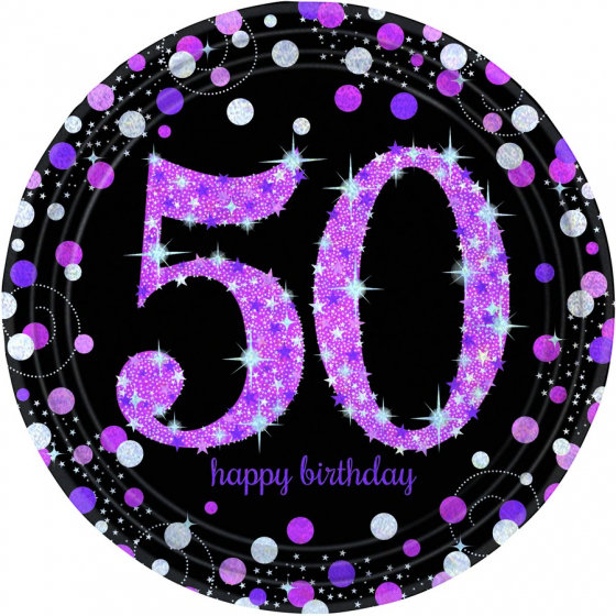 50TH BIRTHDAY DINNER PLATES SPARKLING PINK - PACK 8