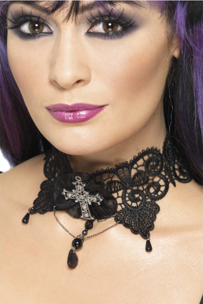 GOTHIC MANSION LACE CHOKER WITH JEWELED CROSS