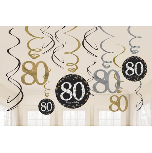 80TH BIRTHDAY HANGING SWIRLS - SPARKLING BLACK PACK 12