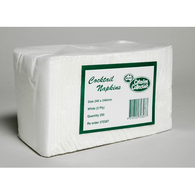 COCKTAIL NAPKINS WHITE 2 PLY - PACK 250