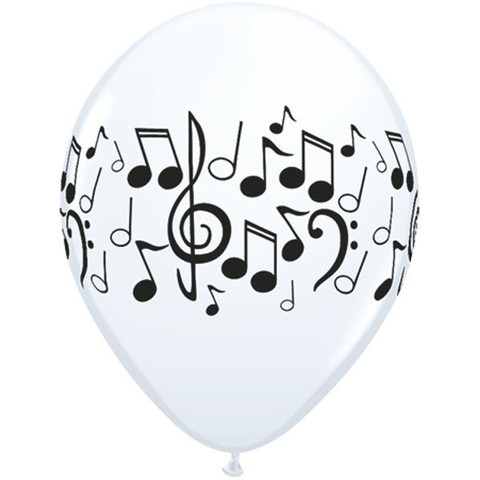 BALLOONS LATEX - MUSICAL NOTES BLACK & WHITE PACK OF 25