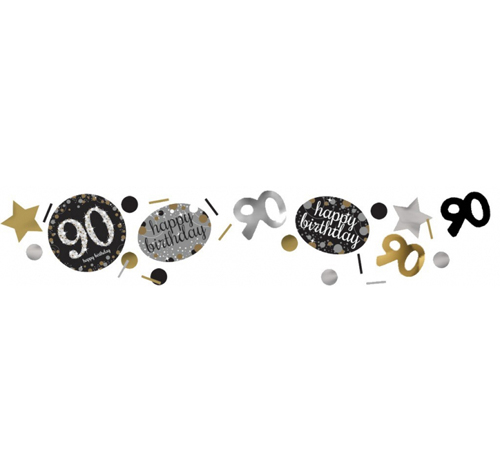 90TH BIRTHDAY SCATTERS SPARKLING - SILVER, GOLD & BLACK