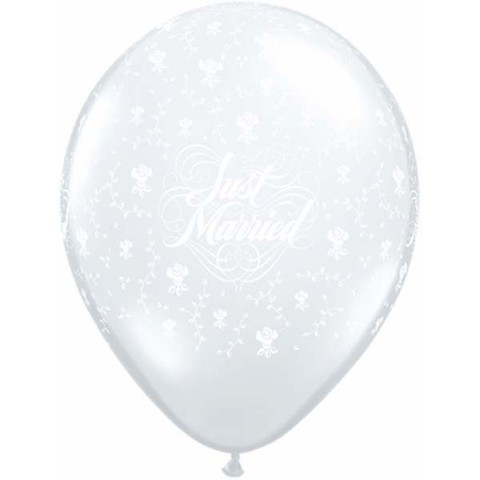 BALLOONS LATEX - JUST MARRIED PACK OF 6