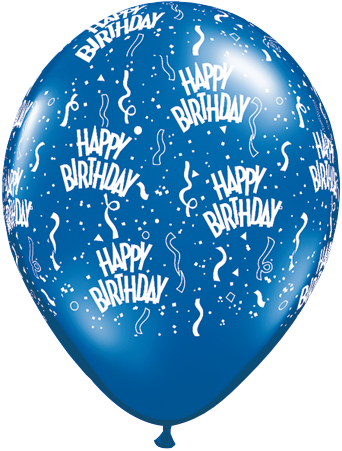 BALLOONS LATEX - BIRTHDAY SAPPHIRE BLUE PACK 6