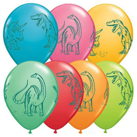BALLOONS LATEX - DINOSAUR PRINT PACK OF 6
