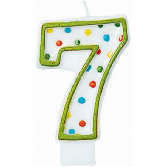 7TH BIRTHDAY PARTY CANDLE MULTI COLOURED POLKA