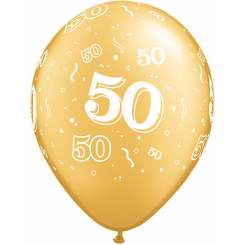 BALLOONS LATEX - 50TH BIRTHDAY/ANNIVERSARY PARTY PACK OF 6
