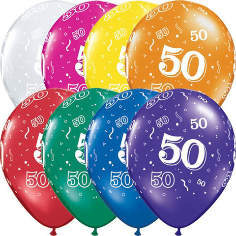 BALLOONS LATEX - 50TH BIRTHDAY JEWEL ASSORTMENT PACK OF 6