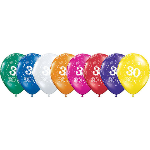 BALLOONS LATEX - 30TH BIRTHDAY JEWEL ASSORTMENT PACK OF 6