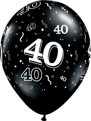 BALLOONS LATEX - 40TH BIRTHDAY ONYX BLACK PACK 25