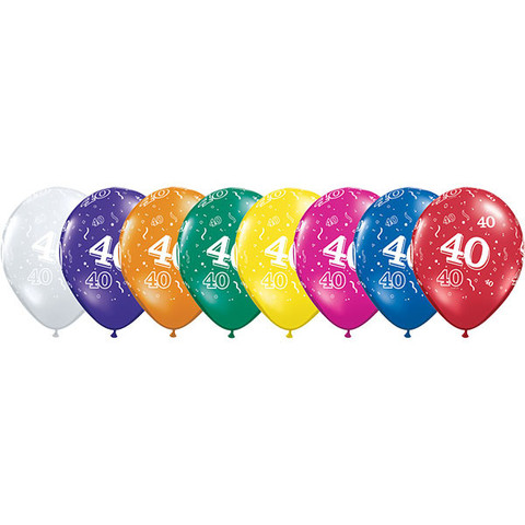 BALLOONS LATEX - 40TH BIRTHDAY JEWEL ASSORTMENT PACK OF 6