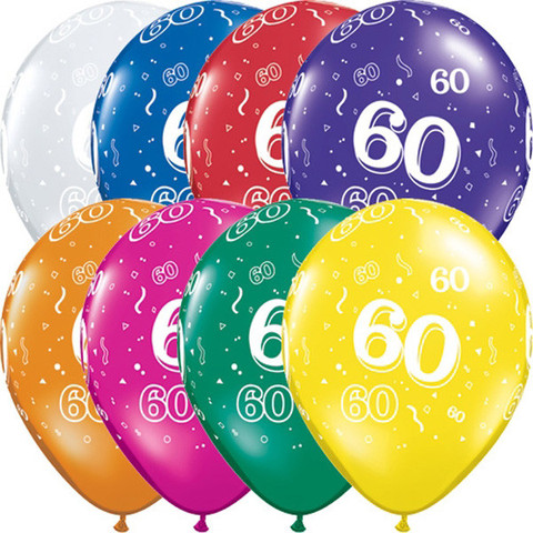 BALLOONS LATEX - 60TH BIRTHDAY JEWEL ASSORTMENT PACK OF 6