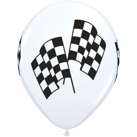 BALLOONS LATEX - RACING FLAG PACK OF 6