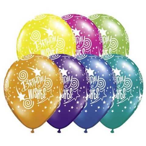 BALLOONS LATEX - BIRTHDAY WISHES ASST STARS & SWIRLS PACK 25
