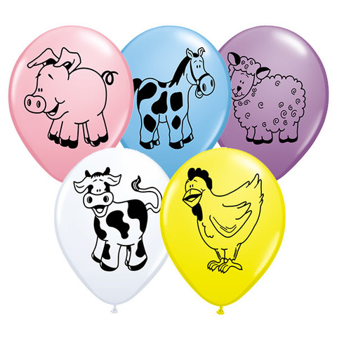 BALLOONS LATEX - FARM ANIMALS PACK OF 6