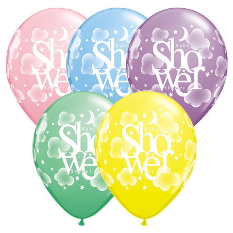 BALLOONS LATEX - PRINTED BABY SHOWER PACK OF 6