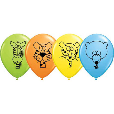 BALLOONS LATEX - JUNGLE ANIMAL FACES PACK OF 6