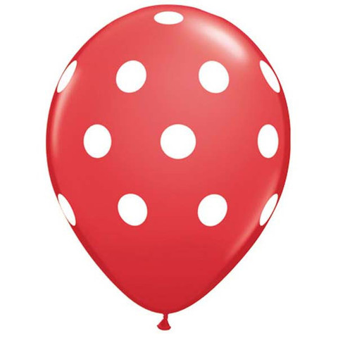 BALLOONS LATEX - POLKA DOT RED & WHITE PK 6
