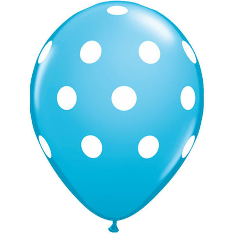 BALLOONS LATEX - POLKA DOT ROBIN'S EGG PACK 6