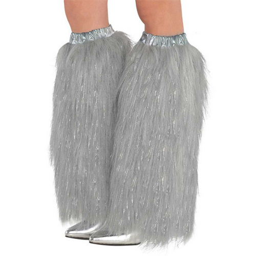1980'S PLUSH & FLUFFY SILVER LEG WARMERS