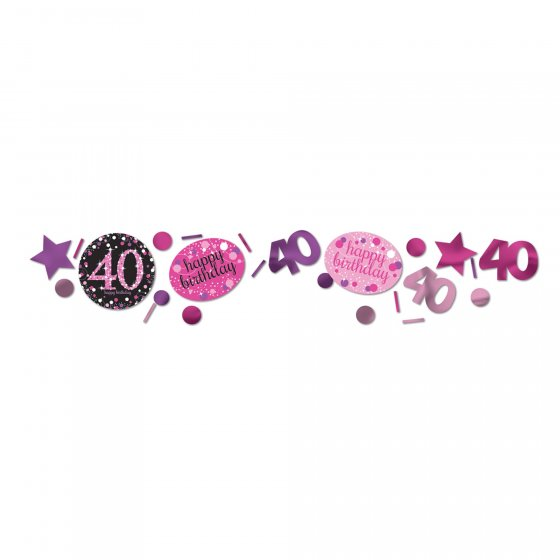 40TH BIRTHDAY SCATTERS SPARKLING - PINK, SILVER & BLACK