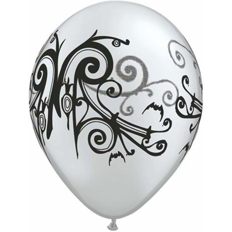 BALLOONS LATEX - BLACK & SILVER GOTH SCROLL PACK 6