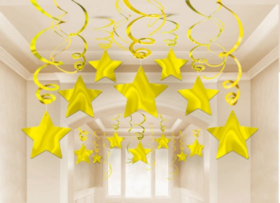 STAR HANGING SWIRL DECORATIONS GOLD PACK OF 30