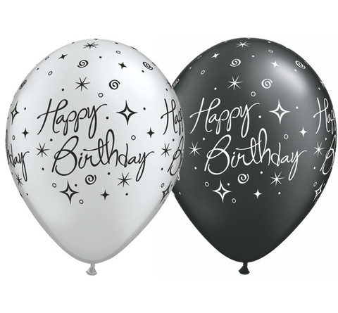 BALLOONS LATEX - BIRTHDAY SPARKLES/SWIRLS SILVER & BLACK PK OF 6