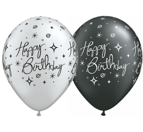 BALLOONS LATEX - BIRTHDAY SPARKLES/SWIRLS SILVER & BLACK PK 25