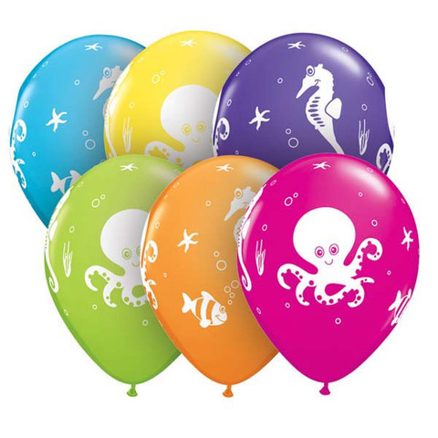 BALLOONS LATEX - SEA CREATURES PACK OF 6