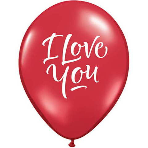 BALLOONS LATEX - I LOVE YOU SCRIPT PACK OF 6