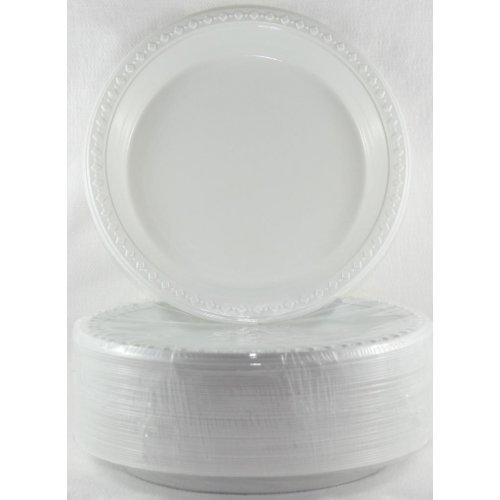 DISPOSABLE ENTREE/ SNACK OR SIDE PLASTIC PLATE - BULK PACK 50