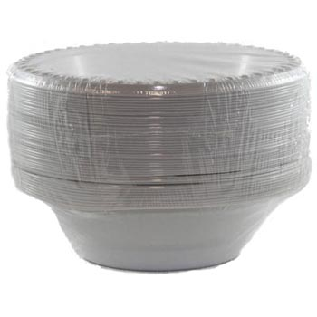 DISPOSABLE DESSERT OR SNACK BOWL WHITE ECONOMY - BULK PACK 50