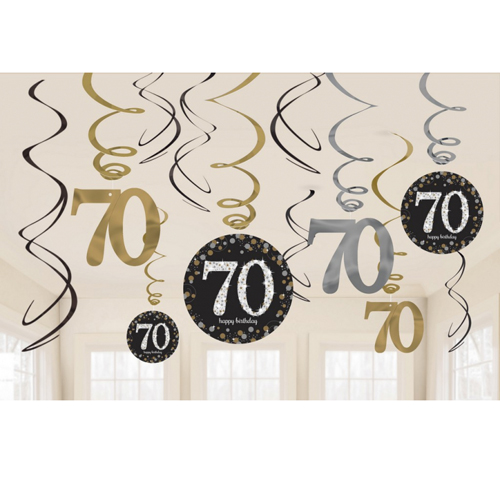 70TH BIRTHDAY HANGING SWIRLS - SPARKLING BLACK PACK 12