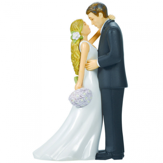 WEDDING CAKE TOPPER - BLONDE HAIRED BRIDE & GROOM