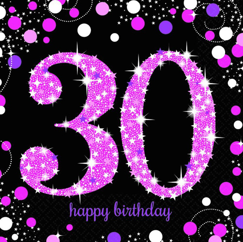 30TH BIRTHDAY NAPKINS - SPARKLING PINK PACK OF 16