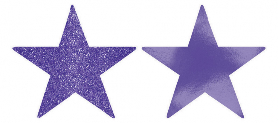 STARS - NEW PURPLE FOIL & GLITTER 12CM - PACK 5