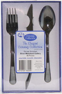 SILVER SERVICE CUTLERY - KNIFE, FORK & SPOON SET BOX 48