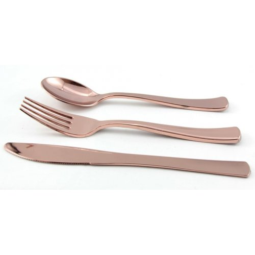 Image of Disposable Cutlery  Deluxe Rose Gold Cutlery Set Pack 24