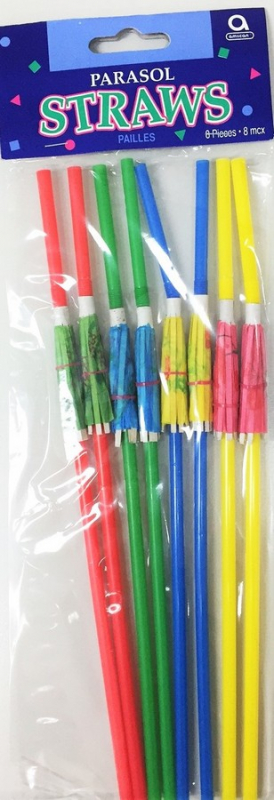LUAU UMBRELLA PARASOL STRAWS - PACK 12