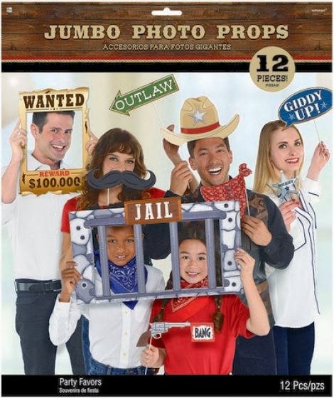 SELFIE PHOTO BOOTH PROPS - WESTERN JUMBO PACK OF 12