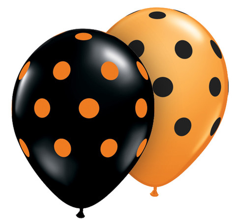 BALLOONS LATEX - POLKA DOT ORANGE & BLACK PK 6