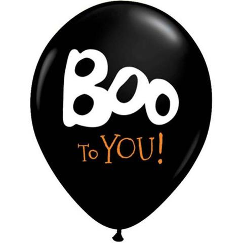 BALLOONS LATEX - HALLOWEEN 'BOO TO YOU' PACK OF 6